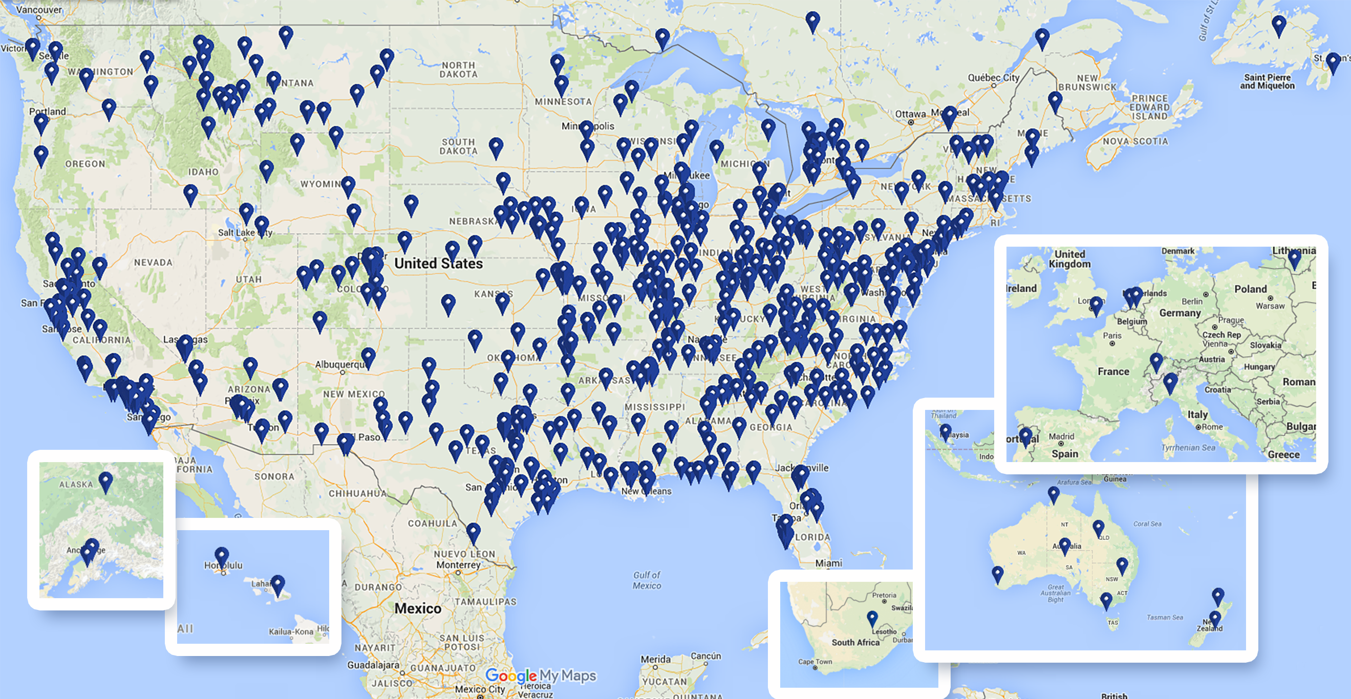Map of all Epiphany locations